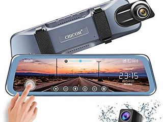 CHICOM Mirror Dash Cam Backup Camera 10  Car Dash Camera Touch Screen 1080P Rearview Front and Rear Dual lens with Waterproof Reversing Camera Enhanced Night Vision HDR