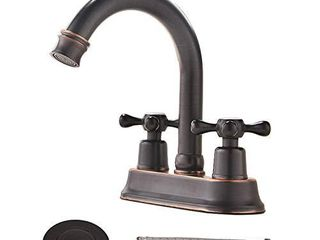 VAPSINT Contemporary lavatory Vanity 2 Handles 2 Holes Oil Rubbed Bronze Bathroom Faucet  Bathroom Sink Faucet with Water Supply lines   Pop Up Drain