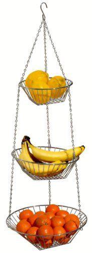 DecoBros 3 Tier Wire Hanging Basket  Chrome