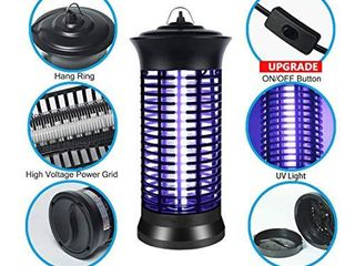 Indoor Bug Zapper with Switch  Electric Mosquito Killer lamp with UV light  Portable Standing or Hanging Home Bug Killer for Kitchen and Office