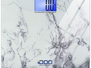 iDOO High Precision Digital Bathroom Weight Scale 440 Pound Capacity  Ultra Wide Heavy Duty Platform with Elegant Marble Design