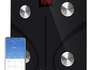 RENPHO Body Fat Scale Smart BMI Scale Digital Bathroom Wireless Weight Scale  Body Composition Analyzer with Smartphone App sync with Bluetooth  396 lbs   Black