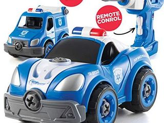 Take Apart Toys with Electric Drill   Converts to Remote Control Police Car   2 in one Take Apart Toy for Boys   Gift Toys for Boys 3 4 5 6 7 Year Olds   Kids Stem Building Toy