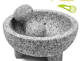 Granite Mortar and Pestle Set guacamole bowl Molcajete 8 Inch   Natural Stone Grinder for Spices  Seasonings  Pastes  Pestos and Guacamole   Extra Bonus Avocado Tool Included