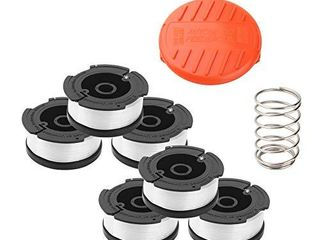 Wolfish Weed Eater Spool 6   1 Pack 30ft 0 065  line String Trimmer Replacement Spool for Black Decker AF 100 String Trimmers   6 Replacement Spool  1 Trimmer Cap  1 Pack Spring