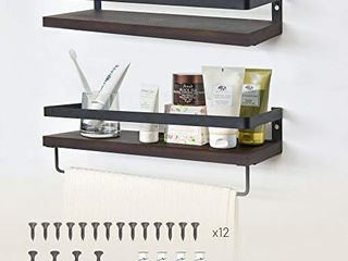 labcosi Solid Wood Floating Shelves for Bathroom and Kitchen  2 Pack Wall Shelf Mounted with Rail and Towel Bar for Storage Organize and Display