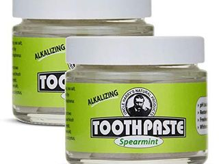 Uncle Harry s Spearmint Remineralizing Toothpaste Organic   Natural Whitening Toothpaste Freshens Breath   Promotes Enamel   Vegan Fluoride Free Toothpaste  2 Pack