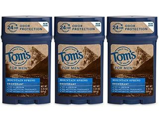 Tom s of Maine long lasting Aluminum Free Natural Deodorant for Men  Mountain Spring  2 25 oz  3 Pack