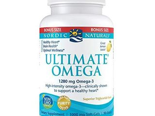 Nordic Naturals Ultimate Omega  lemon Flavor   1280 mg Omega 3 90 Soft Gels   High Potency Omega 3 Fish Oil Supplement with EPA   DHA   Promotes Brain   Heart Health   Non GMO   45 Servings