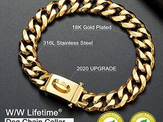 Gold Dog Chain Collar Walking Metal Choke Collar with Design Secure Buckle 18K Cuban link Strong Heavy Duty Chew Proof for Medium Dogs American Pitbull German Shepherd 19MM  17