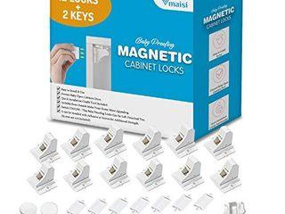 Vmaisi Adhesive Magnetic Cabinet locks  12 locks and 2 Keys