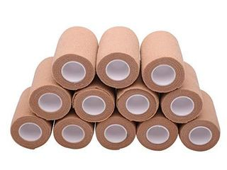 12 Rolls Self Adhesive Bandage Wrap  3 inches X 5 Yards  Cohesive Tape Vet Wrap for First Aid  Sports  Wrist and Ankle  Beige  3 inch