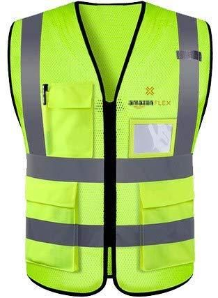 Step ahead bot High Visibility Safety Vest with 2 Pockets   Color Neon Yellow   Amazon flex logo   Medium