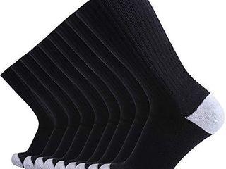 Enerwear 10P Pack Men s Cotton Moisture Wicking Heavy Cushion Crew Socks  10 13 shoe size 6 12  10 Pair  Black