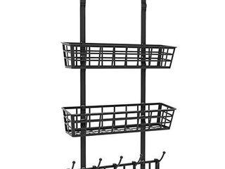 TRENDBOX Door Hanger  Nail Free Door Hanger with 2 Baskets and 5 Double Rows  Plastic Storage Shelves for Bathroom Kitchen   Black