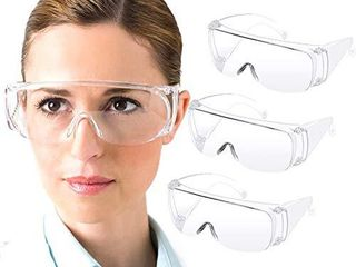 Safety Goggles  Anti Fog Eye Protection Glasses  lightweight Dustproof Over Glasses  Anti Splash Goggles for Men and Women 3 Pack