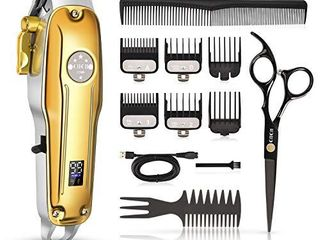Cordless Hair Clippers for Men  CIICII Professional Hair Trimmer Set  12Pcs USB Rechargeable Adjustable lCD Display Hair Beard Cutting Grooming Trimming Haircut Kit  for DIY Home Barber Salon