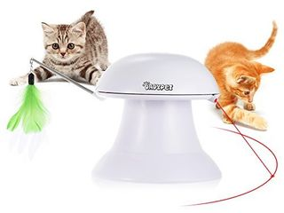DADYPET Cat laser Toy  2 in 1 Automatic Non Handheld Cat Chaser Toy and Interactive Feather Toy  Auto Rotating light Cat Chaser Toy for Cats and Dogs