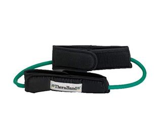 TheraBand   21432 Resistance Tubes  Professional latex Elastic Tubing with Handles For Physical Therapy  lower Pilates  At Home Workouts    Rehab  12 Inch With Padded Cuffs  Green  Heavy  Intermediate level 1