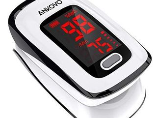 Pulse Oximeter Fingertip  Oximetro  ANKOVO Blood Oxygen Saturation Monitor  Heart Rate Monitor and SpO2 levels  Portable Pulse Oximeter with Case  lanyard and Batteries  Black