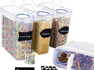 Homrealm Cereal Container Storage Set 2pcs Airtight Food Storage Containers Upgraded Cereal dispenser BPA Free Pantry Storage Containers for Cereal Rice Cookies Flour Sugar Coffee Pet food More Black