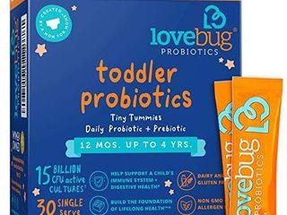 lovebug Probiotic and Prebiotic for Kids  15 Billion CFU  for Children 12 Months to 4 Years  Best Children s Probiotics  Contains 1 Gram Fiber  30 Packets