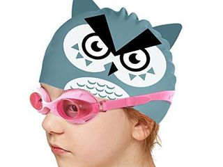 Firesara Kids Swim Cap  Fun Silicone Swimming Hats for Boys and Girls Waterproof Bathing Cap for Children with Cute Cartoon Design Safe Meterial Swim Hat for Kids long Hair Grey