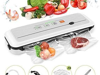 Vacuum Sealer Machine for Food Preservation Automatic food sealer machines Dry   Moist Modes led Indicator lights Ul Certified  Suitable for Use in Camping and Home  with 15 Pcs Vacuum Bags
