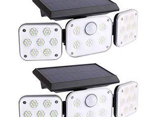 Wireless lED Solar Motion Sensor lights Outdoor 3 Head Motion Sensor lights lights Outdoor Spotlights 360Ai1 4IP65 Waterproof  Illumination for Yard Patio Garage Entryway Front Door  2 Pack