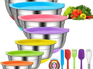 Mixing Bowls with Airtight lids  18pcs Stainless Steel Nesting Colorful Mixing Bowls Set Non slip Silicone Bottom  Size 7  5 5  4  3 5  2 5  2  1 5 qt  Fit for Mixing   Serving