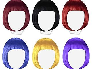6 Pack Colored Wigs  Neon Colorful Party Wigs for Women Girls Cosplay Costume Party Holiday Bachelorette Night Club  Red