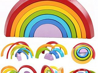 king do way Wooden Rainbow Stacker Toys 7Pcs Nesting Stacking Game Educational learning Toy Puzzle Creative Colorful Building Blocks for Kids Baby  Round