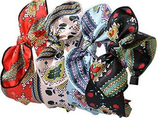 Women Bunny Ears Headbands Knotted Wide Bow Bowknot Turban Headbands Headwraps Floral Hair Band for Girls 4 Colors