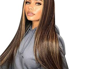 Isaic long Straight Highlights Wigs for Women 28 Inch Synthetic Mix Color Wig Middle Part Ombre Blonde Highlights Hair Wigs Natural looking Heat Resistant Daily Party Use