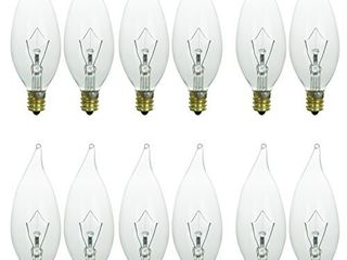 Sunlite 40033 SU 12 Pack Flame Tip Chandelier light Bulbs 60 Watts  Candelabra Base  E12  120 Volt  Clear  Incandescent  Dimmable  12 Pack  32K   Warm White  12 Count