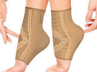 Ankle Compression Sleeves by SPARTHOS  Pair    Immediate Pain Relief   Plantar Fasciitis Socks with Arch Support  Medium  Desert Beige