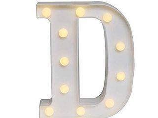 Ogrmar Decorative led light Up Number letters  White Plastic Marquee Number lights Sign Party Wedding Decor Battery Operated  D