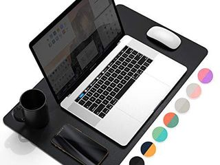 YSAGi Multifunctional Office Desk Pad  23 6  x 13 7  Ultra Thin Waterproof PU leather Mouse Pad  Dual Use Desk Writing Mat for Office Home  23 6  x 13 7  Black