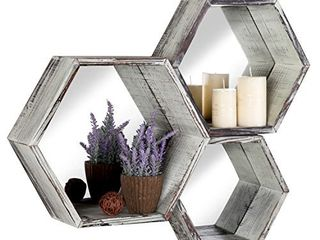 Rustic Torched Wood Hexagon Wall Mounted Floating Shelves with Mirrored Backing  Set of 3