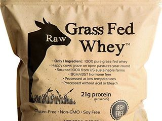 Raw Grass Fed Whey 5lB   Happy Healthy Cows  COlD PROCESSED Undenatured 100  Grass Fed Whey Protein Powder  GMO Free   rBGH Free   Soy Free   Gluten Free  Unflavored  Unsweetened  5 lB BUlK  90 Serve