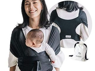 Konny Baby Carrier Summer   Ultra lightweight  Hassle Free Baby Wrap Sling   Newborns  Infants to 44 lbs Toddlers   Cool and Breathable Fabric   Sensible Sleep Solution  Black  S