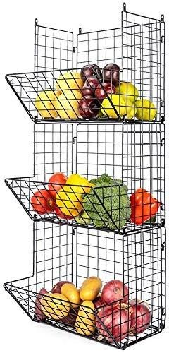 goldenwarm Hanging Fruit Basket 3 Tier Wall Storage Basket Organizer Wire Wall Baskets for Kitchen Fruit Produce Rack Fruit or Produce Storage Rustic Country Style Pantry Shelf