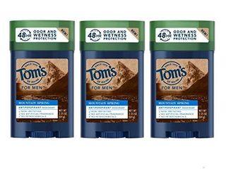 Tom s of Maine Men s Antiperspirant  Antiperspirant for Men  Mens Deodorant Antiperspirant  Mountain Spring  2 25 Ounce  3 Pack