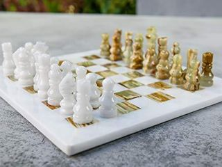 RADICAln Handmade White and Green Onyx Weighted Full Chess Game Set Staunton and Ambassador Gift Style Marble Tournament Chess Sets for Adults   Non Wooden   Non Magnetic   Not Backgammon   Non Glass