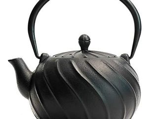 Cast Iron Tea Kettle  TOPTIER Japanese Cast Iron Teapot with Infuser  Cast Iron Tea Kettle Stovetop Safe  Wave Design Teapot Coated with Enameled Interior for 30 Ounce  900 ml  Midnight Black
