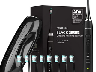 AquaSonic Black Series Ultra Whitening Toothbrush ADA Accepted Rechargeable Toothbrush   8 Brush Heads   Travel Case   Ultra Sonic Motor   Wireless Charging   4 Modes w Smart Timer   Sonic Electric