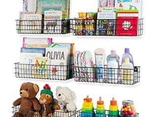 Wall35 Kansas Wall Mounted Black Bookshelf for Kids  Room Decor  Metal Wire Storage Basket Set of 6  Varying Sizes