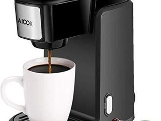 Single Serve Coffee Maker  AICOK Single Cup Coffee Maker  800W Single Serve Coffee Brewer For K Cup Pods  One Cup Coffee Maker with Quick Brew Technology  Black