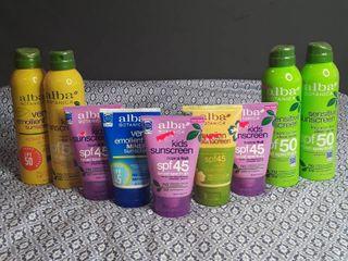 lot of Assorted Alba Brand Sunscreens   9 items