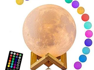Moon lamp  lOGROTATE 16 Colors lED 3D Print Moon light with Stand   Remote Touch Control and USB Rechargeable  Moon light lamps for Kids Friends lover Birthday Gifts Diameter 4 8 INCH